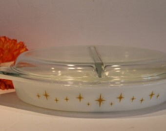 Yellow Constellation Pyrex Dish - Atomic Starburst Pyrex - Yellow Divided Pyrex with Lid