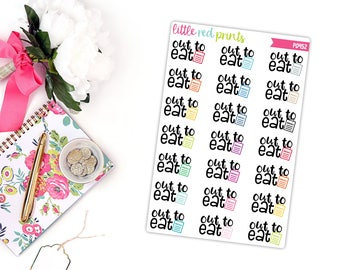 Out to Eat Planner Stickers for the Erin Condren Life Planner, Script Sticker, Script Planner Sticker - [P0452]