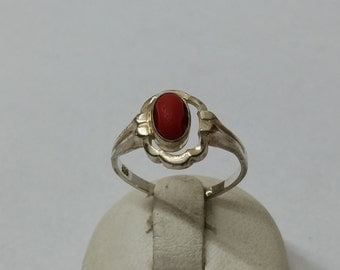 Children 835 silver ring with coral vintage SR551