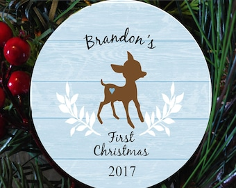 Baby's  first christmas ornament, child first ornament, baby  deer christmas ornament for boy, kids ornament, personalized first christmas