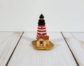 Lenox Mini Lighthouse Thimble - West Quoddy Head Light - State Park - Lubec, Maine - Nautical Decor - Collectible - Souvenir - Miniature