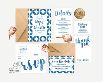 Moroccan invitation, Printable wedding stationery, Watercolor invitation, Watercolour wedding invitation, Beach wedding invitation set