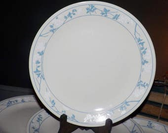 SET of 7 vintage (c.1980s) Corelle | Corning | Corning Ware First of Spring dinner plates. Embossed blue florals. Made in USA.