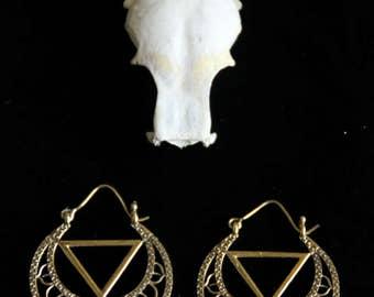 Sacred Geometry Earrings - Bronze - Gypsy - Ethnic - Tribal - Original - Design - Triangle - Geometric