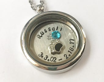 Honoring the Loss of a Pet or Loved One - In Memory Of A Special Date - Custom Hand Stamped Floating Charm Locket