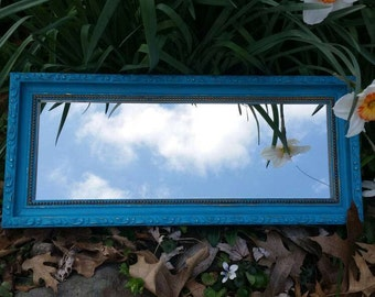 Vintage Turquoise Mirror;  Painted and Distressed Turquoise Mirror