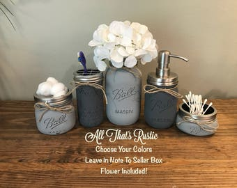 rustic bathroom decor mason jar bathroom set mason jar decor bathroom set