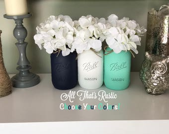 Navy, White, and Mint Mason Jars.Mason Jar Decor.Nursery Decor.Painted Mason Jars.Mason Jars with Flowers.Mason Jars with Box.Home Decor