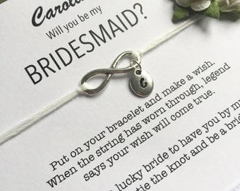 Bridesmaid initial bracelet, Bridesmaid proposal, Bridesmaid invitations, Bridesmaid knot bracelet, Ask bridesmaid, Wish bracelet, ZB3
