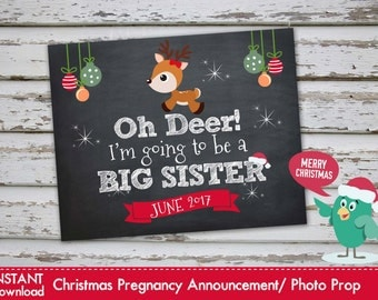 Oh Deer Im going to be a Big Sister - Christmas Pregnancy Announcement Christmas Pregnancy Photo Prop JUNE 2017 DIY