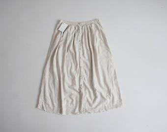 beige linen skirt | embroidered skirt | beige skirt