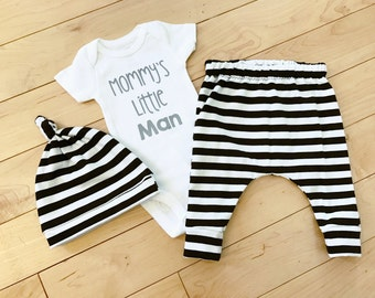 Baby Boy Coming Home Outfit / Black Striped / Little Man / Knot Hat