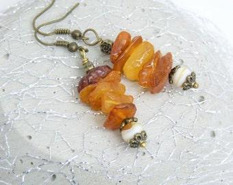 Earrings with Amber Splitter-vintagebronze-gift-
