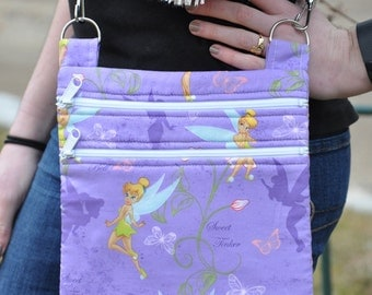 Disney - Purple - Tinkerbell - Fairy  Quilted Cross Body Lined Messenger Bag - Tote - Shoulder Bag