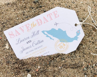 Luggage Tag Save the Date - Destination Wedding - Custom Luggage Tag STD - Beach Wedding - Digital Download - Printable Save the Date
