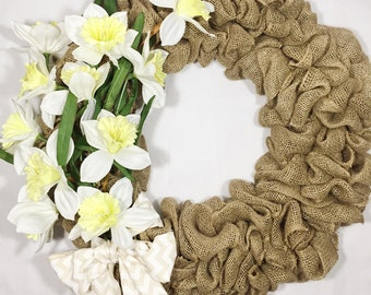 White Daffodils Wreath, Spring, Burlap, Front Door, Yellow, Simple, Summer, Country, Rustic, Outside, Outdoors, Modern, Floral, Flower