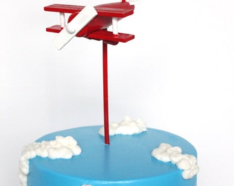 Red Airplane Cake Topper, Wood Toy Plane, Red and White, Smash the Cake, overthetopcaketopper