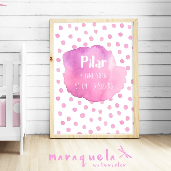 CUSTOMIZED PINK watercolor for newborn with personalized name, date, weight. Custom new born gift, girl baby shower, nursery room art print