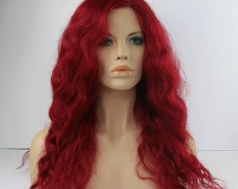 Multi Part Long Wavy  Layerd Dark Red Wig -TIFFANY