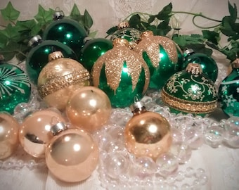 Collection of  Emerald Green and Gold Vintage Mercury Glass Ornaments – Collection of 17