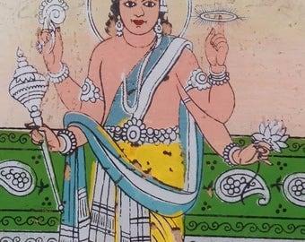 Old fixed under glass painting on glass Vishnu Vishnu 65x39cm craft India