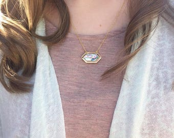 Mother of Pearl Necklace - Kendra Scott Inspired - Chain Necklace