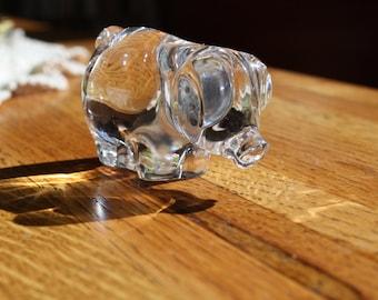 Vintage Hand Blown Glass Pig Figurine