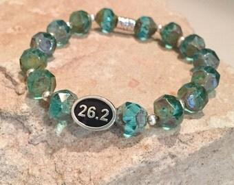 Blue bracelet, bracelet for runner, bracelet for athlete, marathon bracelet, Czech glass bead bracelet, Hill Tribe silver bracelet