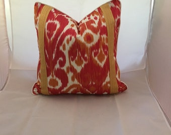 20 inch Magenta Scalamandre Ikat Decorative Throw Pillow with Salmon Braid and Contrasting Cording