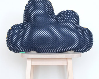 Clouds cushion blue with white dots