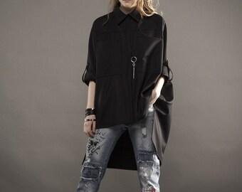 Oversize shirt / Black shirt / Black oversize shirt / Designer shirt / Modern design shirt