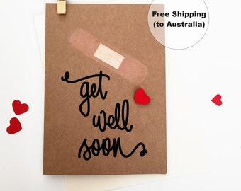 Get Well Soon Greeting Card – Heart Get Well Soon Greeting Card – Thinking of You Greeting Card