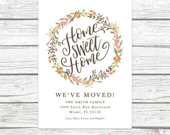 Moving Announcement, Home Sweet Home Moving Announcement, Floral Moving Announcement, New Home Change of Address, Printable Housewarming