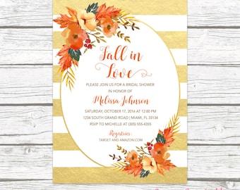 fall in love bridal shower invitation autumn falling floral leaves wreath wedding rustic invite