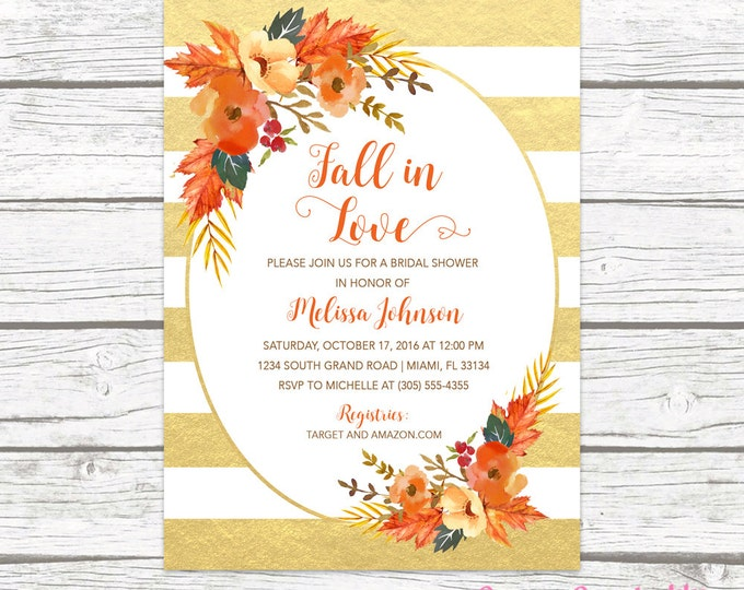Fall in Love Bridal Shower Invitation, Autumn Falling Floral Leaves Wreath Wedding Rustic Invite, Gold Foil Striped Printable Printed