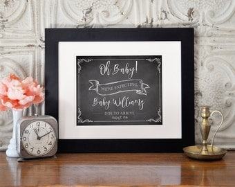 Printable Pregnancy Announcement, Pregnancy Reveal, Baby Announcement, Chalkboard Sign, Printable Pregnancy Sign, Photo Prop, Oh Baby!