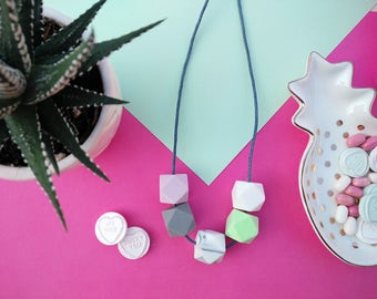 Silicone Teething Necklace - Mint, Lilac Marble Grey & White | Mother's day | New Mum Gift | Geometric Necklace | Baby Shower Gift | Soother
