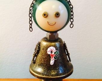 Robot, robot sculpture, found object art, metal sculpture, assemblage art, found objects, ooak art doll, Christmas decoration, Candy Cane