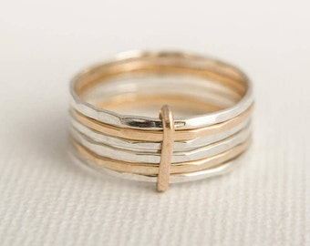 Stacking Ring Set - Skinny Stacking Rings - Solid Gold Stacking Rings - Linked Stacking Rings - Mixed Metal Stacking Rings - Hammered Rings