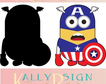 captain america svg, Cricut, digital download,  Disney svg files, minion svg, minions party supplies,  silouhette, marvel svg, superhero svg