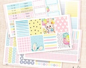 Bunny - Sticker Kit / 5 sheets, matte or glossy Erin Condren planner stickers