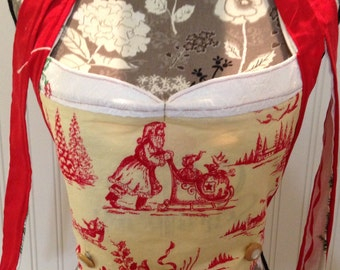 Embroidered Apron Bodice Button On vintage Christmas toile embroidered  cupcake  Reversible