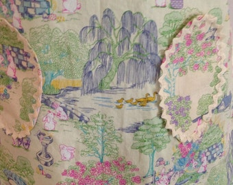 Summer Sale Daughter apron, Aqua toile, full apron, bunny, yellow ribbon, yellow chenille ric rac, cream ric rac, aqua dot, Easter egg pocke