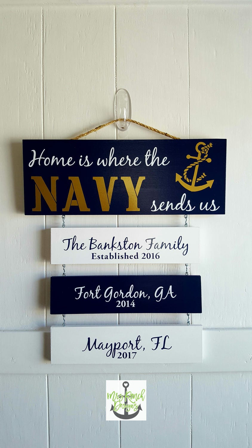 home is where the navy sends navy sign patriotic wall