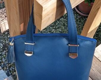 Vegan Leather Handbag, Blue Handbag, Lola Handbag, Swoon Lola, Faux Leather Purse, Blue Purse, Medium Size Purse