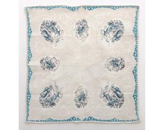 Swiss country scenes vintage ladies' handkerchief, hankie, hanky
