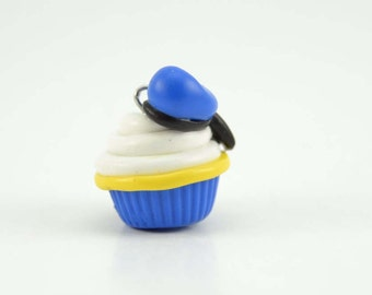 Donald Duck Inspired Adorable Cupcake charm. Cupcake stitch marker.Polymer clay cupcake