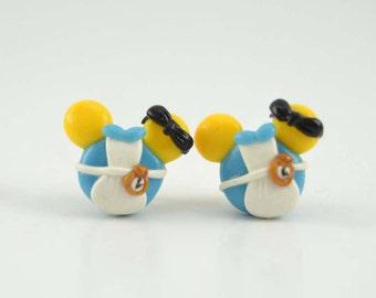 Alice in Wonderland Mickey Inspired Stud earrings. Polymer clay earrings. Alice in Wonderland jewelry