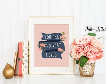 Coral Nursery Decor - You Are So Very Loved Printable - Girl Nursery - Coral and Navy Nursery Decor - Coral Print - Instant Download - 8x10