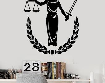 Wall Vinyl Decal Nemesis Greek Goddess of Justice Jurisdiction Court Office Decor (#2408dn)